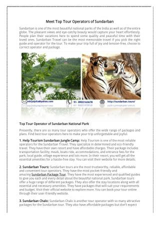 Know Top Tour Operators of Sundarban