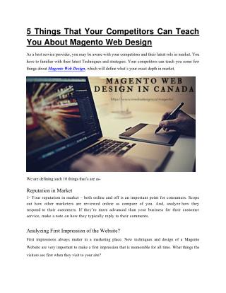 Magento Web Design In Canada | Blog