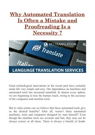 Why Automated Translation Is Often a Mistake and Proofreading Is a Necessity