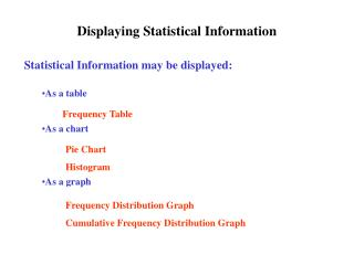 Displaying Statistical Information