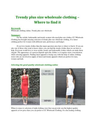 Trendy plus size wholesale clothing � Where to find it