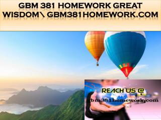 GBM 381 HOMEWORK Great Wisdom\ gbm381homework.com