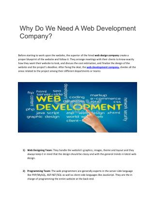 Why Do We Need A Web Development Company?