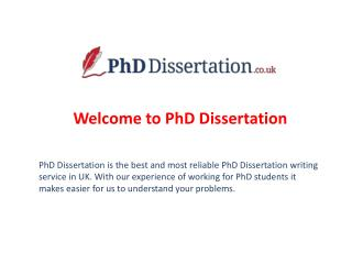 PhD Dissertation - Assignment Writing Service