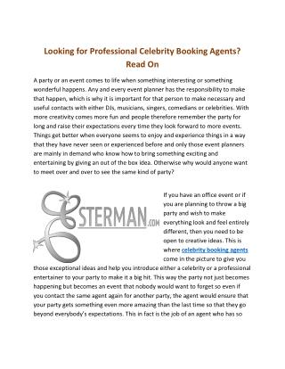 Looking For Professional Celebrity Booking Agents? Read On