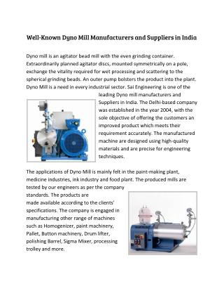 Well-Known Dyno Mill Manufacturers and Suppliers in India