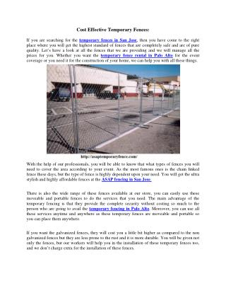 Cost Effective Temporary Fences:
