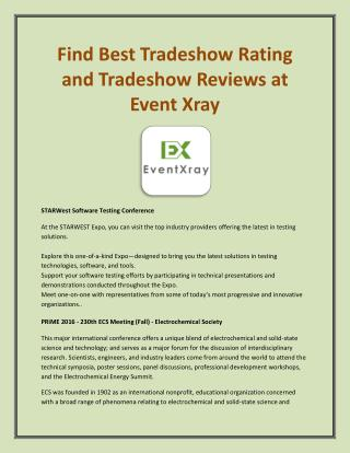 Find Best Tradeshow Rating and Tradeshow Reviews at Event Xray