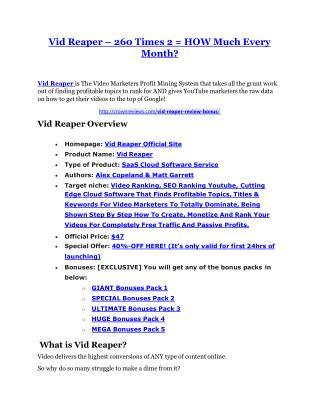 Vid Reaper review & Vid Reaper (Free) $26,700 bonuses