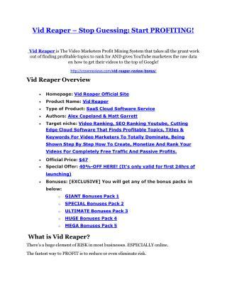 Vid Reaper Review and Vid Reaper (EXCLUSIVE) bonuses pack