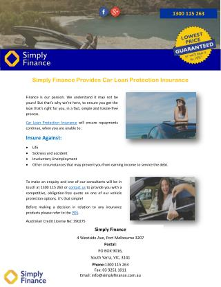 Simply Finance Provides Car Loan Protection Insurance