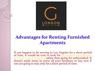 Advantages for Renting Furnished Apartments