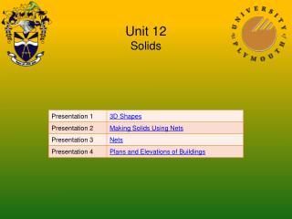 Unit 12 Solids