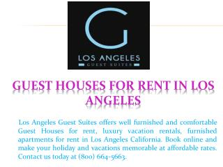 Guest Houses For Rent in Los Angeles