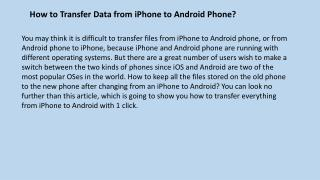 How to Transfer Data from iPhone to Android Phone