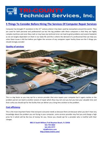 5 Things To Consider Before Hiring The Services Of Computer Repair Services