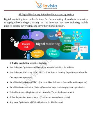All Digital Marketing Activities-Understand by iovista