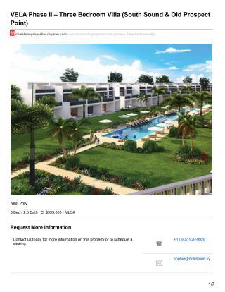 VELA Phase II - 3 Bedroom Villa - Cayman Residential Property For sale