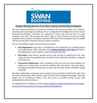 Acquire Roofing Services from Best Commercial Roofing Companies