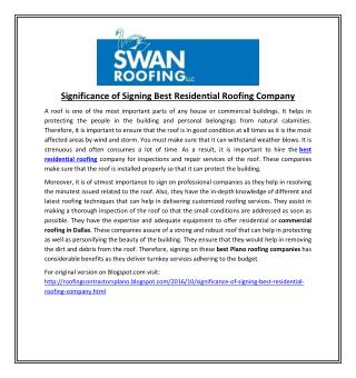 Significance of Signing Best Residential Roofing Company