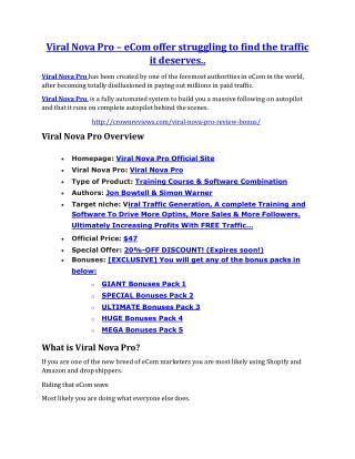 Viral Nova Pro Reviews and Bonuses-- Viral Nova Pro