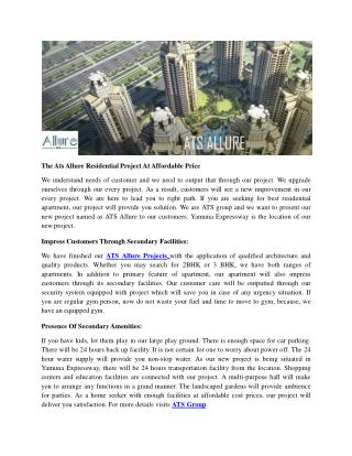 The Ats Allure Residential Project At Affordable Price
