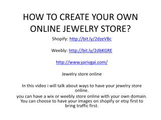 HOW TO CREATE YOUR OWN ONLINE JEWELRY STORE?