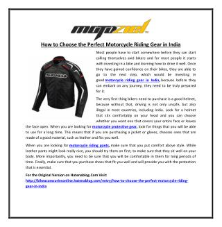 How to Choose the Perfect Motorcycle Riding Gear in India