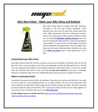 Bike Wax Polish � Make your Bike Shiny and Radiant