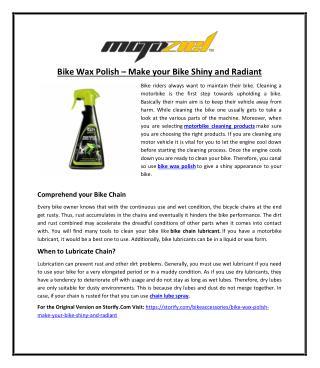 Bike Wax Polish – Make your Bike Shiny and Radiant