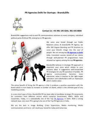 PR Agencies Delhi for Startups - Brands2life