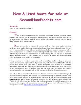 New & Used boats for sale at SecondHandYachts.com
