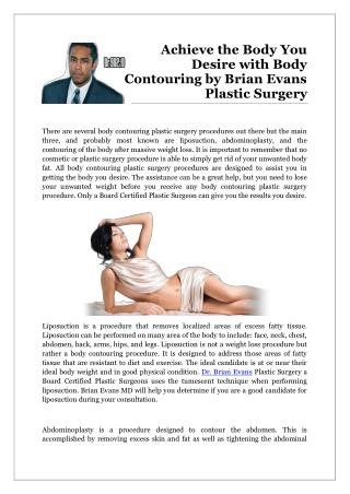 Achieve the Body You Desire with Body Contouring by Brian Evans Plastic Surgery