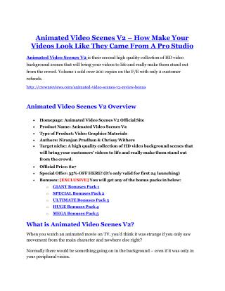 Animated Video Scenes V2 Detail Review and Animated Video Scenes V2 $22,700 Bonus