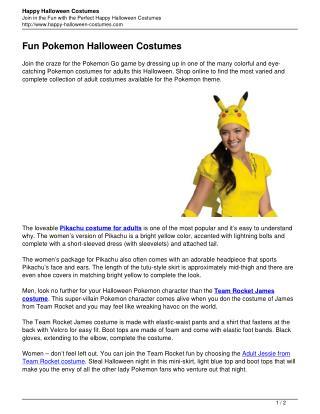 Fun Pokemon Halloween Costumes