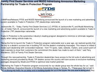 Family First Dealer Services and MUDD Advertising Announce M