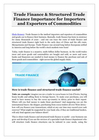 Trade Finance & Structured Trade Finance Importance for Importers and Exporters of Commodities