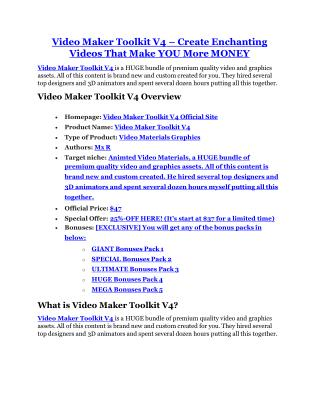 Video Maker Toolkit V4 review - EXCLUSIVE bonus of Video Maker Toolkit V4