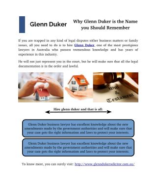 Why Glenn Duker is the Name you Should Remember