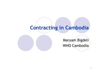 Contracting in Cambodia