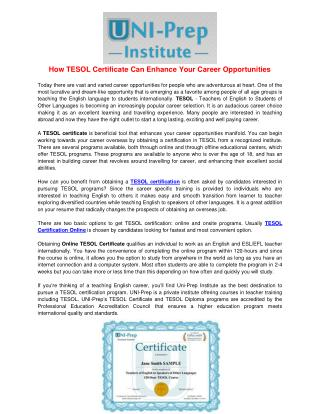 TESOL Certification