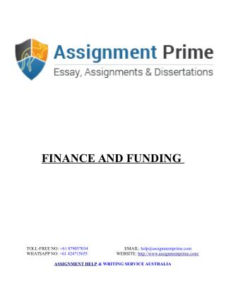 Sample Assignment - Finance and Funding