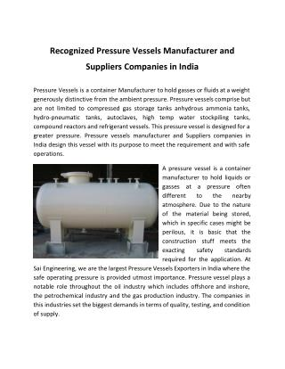 Recognized Pressure Vessels Manufacturer and Suppliers Companies in India