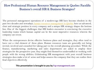 How Professional Human Resource Management in Quebec Facelifts Business's overall HR & Business Strategies?