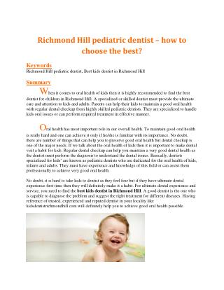 Richmond Hill pediatric dentist � how to choose the best?