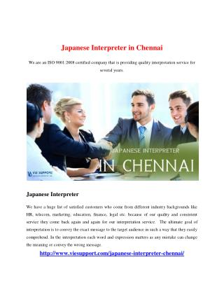 Japanese Interpreter in Chennai