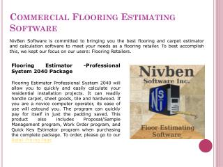 Flooring Estimating Software