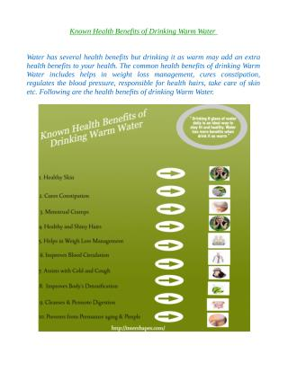 Known Health benefits of Drinking Warm Water