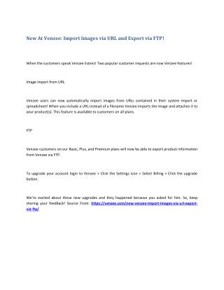 New At Venzee: Import Images via URL and Export via FTP!