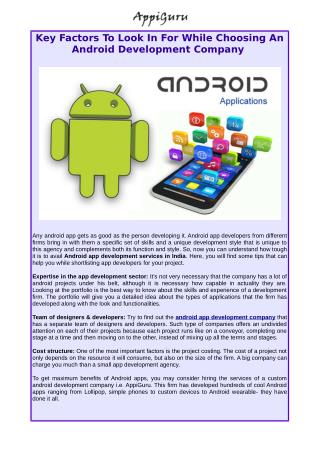 Select An Excellent Android App Development Company